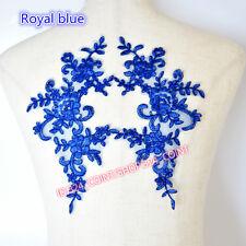 HB106 25*12.5cm, 2PC Flower Embroidered Lace Trim Sewing Applique Dress Decor