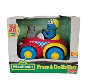 Fisher Price Sesame Street Press & Go Racer Car  2001 Mattel, Cookie Monster Toy