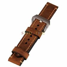 Brown 22mm Genuine Leather Wristwatch Strap Watch Band Watchband DIY Replace