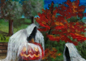 ACEO original painting scary Halloween Sketch Card Jack o'lantern by T.Volokhova
