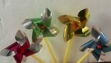 60 Mini Foil Windmills Loot Party Bags Favours Toys Novelty Bulk Lot