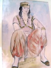 """BERTHOMME ST-ANDRE (1905-1977) Période Algérienne 1925 """"Femme d'Alger"""" aquarelle"""