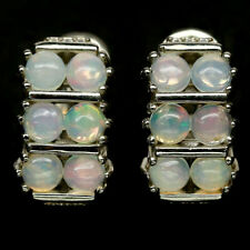 NATURAL 4 mm. MULTICOLOUR OPAL & WHITE CZ 925 STERLING SILVER EARRINGS