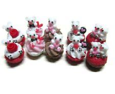 10 Valentine Cupcakes Dollhouse Miniatures Food Bakery Food