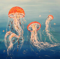 "Large Original Acrylic Painting on Canvas Jelly Fish Art. by Hunoz 36"" x 36"""