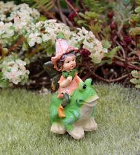 Adorable FAIRY GARDEN MINIATURE Fairy Riding a Frog Figurine #D161518