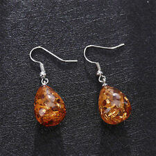 Retro Charm Natural Polished Baltic Sterling Amber Color Earrings Women Jewelry