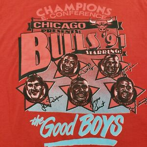 Vintage 1991 Chicago Bulls Champions The Good Boys Championship Shirt Medium 90s