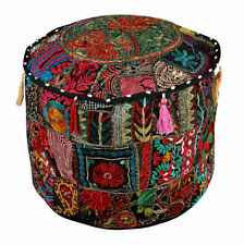 Cotton Floor Ottoman Pouffe Vintage Embroidered Patchwork Indian Top