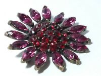 VINTAGE Red Pink RHINESTONE FLOWER PIN Brooch ANTIQUED BRONZE