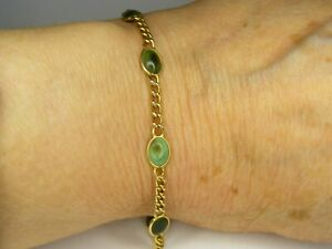 VINTAGE 14 CARAT GOLD AND TURQUOISE CURB CHAIN BRACELET