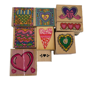 Lot of 9 Heart Themed Rubber Wood Stamps Mixed Brands