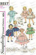 Simplicity 3217 - 17 inch shirley temple type doll clothes sewing pattern