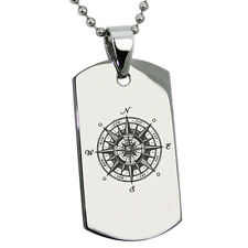Stainless Steel Nautical Vintage Compass Mens Dog Tag Necklace or Keychain