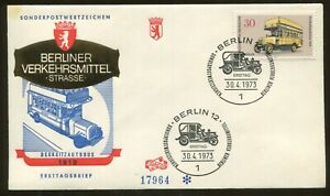 1973 Berlin Germany - Means of Transportation - Top Deck Bus - First Day Cover