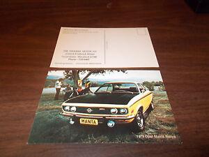 1973 Opel Manta Rallye Advertising Postcard