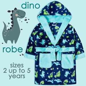 Kids Boys Dressing Gown Dino Robe Size Age 2-3 3-4 4-5 5-6 Fleece Hooded Gift UK