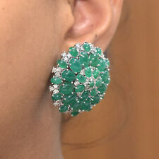 Floral 18K White Gold Emerald Gemstone Stud Earrings Diamond Pave Fine Jewelry