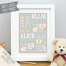 Personalised Twin Baby Elephant Print Birth Details Picture Gift Nursery Art