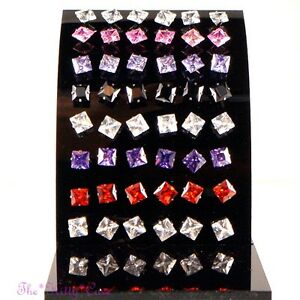 Square Stainless Steel Stud Earrings w/ 7mm Table Cut Swarovski Crystal Elements