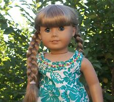Aloha Dress - Handmade for American Girl Kanani Doll in Green & White and Shoes