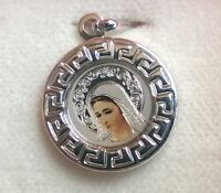 925 Sterling Silver Catholic pendant medal Our Lady Virgin Mary Charm Medjugorje