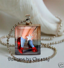 Wizard of Oz Scrabble Necklace VTG Dorothy Ruby Red Slippers Charm Pendant