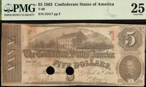 1863 $5 DOLLAR CONFEDERATE STATES CURRENCY CIVIL WAR NOTE PAPER MONEY T-60 PMG