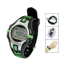 Black Green Plastic Adjustable Wristband Digital Sports Watch for W8v1 C2n6