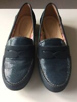 NWOB HOTTER Navy Blue Nubuck Leather 'Sorbet'  Block Heel Slip On Shoes UK 7.5
