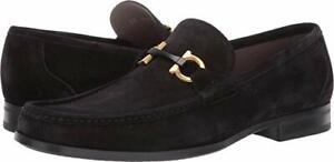 NEW SALVATORE FERRAGAMO Grandioso Black Suede Gold Gancini Bit Mens Shoe!