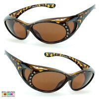 POLARIZED Rhinestone cover put over Sunglasses wear Rx glass fit driving torto f
