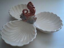 FITZ & FLOYD Seahorse 3 part Relish Condiment Serving Candy Dish Seashell cracks