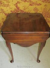 Statton Oxford Cherry 4 Drop Leaf Sides End Lamp Table Queen Anne Legs