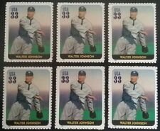 WALTER JOHNSON Lot of 6 US Baseball COMMEMORATIVE Unused MNH Postage Stamps
