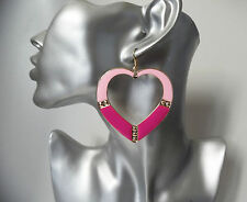 "LARGE pink & gold tone heart shaped big hoop drop / dangly earrings 2.5"" / 7cm"