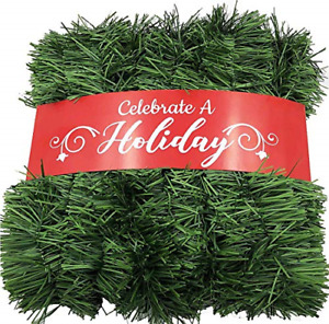 50 Foot Garland for Christmas Decorations - Non-Lit Soft Green Holiday Decor for