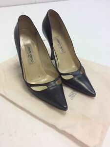 D136 Jimmy Choo Womens Black Stiletto Heels Shoes Size 39.5 (5.5)