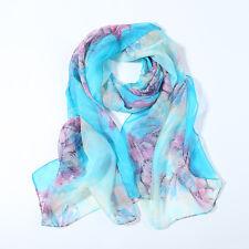 Long Silk Chiffon Scarf Blue Theme Flower Print SCH065