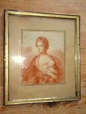 Dessin ancien a la sanguine.Portrait d'une jeune femme.
