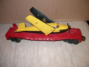 POSTWAR LIONEL O 6800 FLAT CAR WITH AIRPLANE YELLOW OVER BLACK