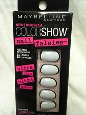 NEW Maybelline NY Color Show Nail Falsies #24 Fake Nails White W/Silver Trim#70