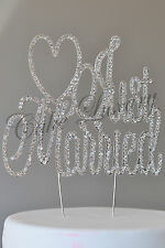Just Married Wedding Cake Topper Diamonte Crystal Rhinestone Bling Cake Topper
