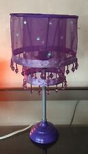 """Purple Fashion Desk Lamp with Beads See through shade 14"""" high"""