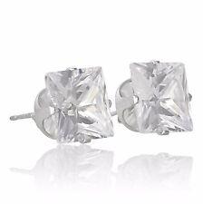 Sterling Silver Cubic Zirconia Stud Earrings Choose Shape, Colour & Size.