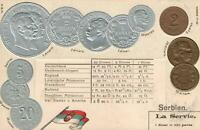EARLY 1900's VINTAGE SERBIA EMBOSSED GOLD SILVER COINS & FLAG POSTCARD