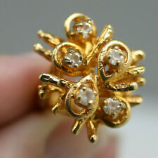 Vintage gold tone clear stone hugh set cocktail style ring direction one sz 6