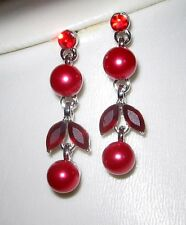 elegante Blumen-Ohrstecker, Ohrringe versilbert mit Swarovski-Elements, rot