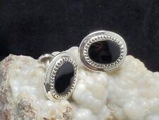 shape,onyx bezel, patina darkened #2 925 Sterling Silver, Cufflinks,silver, oval