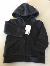 BNWT Target Baby Size 00 Smart Grey Warm Zip Front Hoodie Jacket With Cute Ears